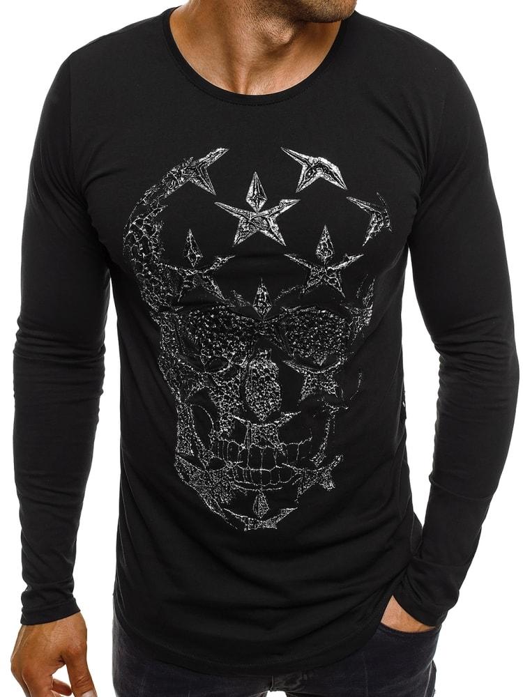 Breezy Černé moderní SLIM FIT tričko s lebkou BREEZY 171332