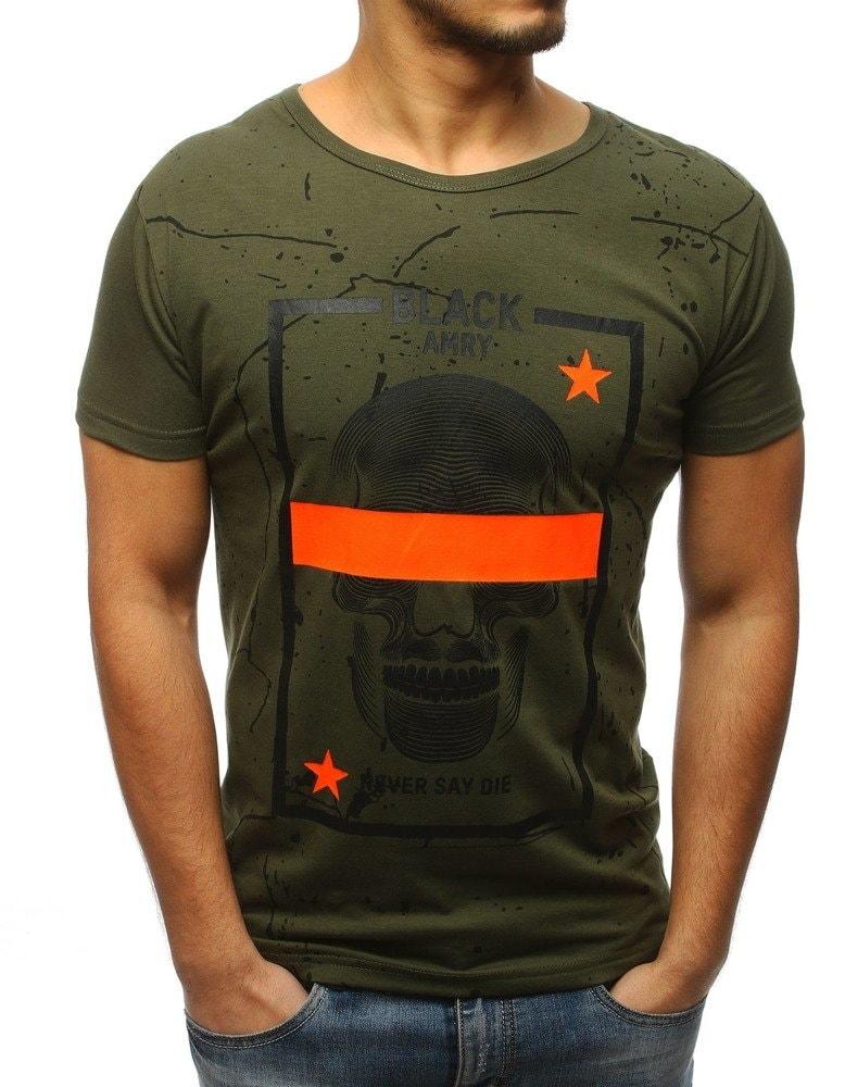 Dstreet Zajímavé zelené tričko s lebkou