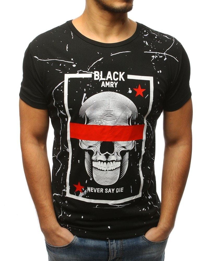 Dstreet Stylové černé tričko s lebkou