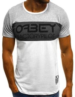 f87e46f908f Sleva Skladem Bílé tričko v zajímavé kombinaci O 1179 ...