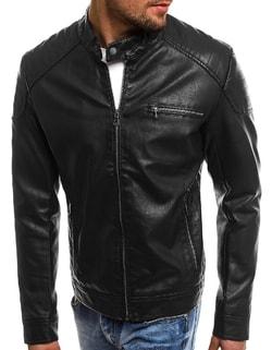 b02c8470dfb ... Pánská černá koženková bunda NATURE 5008 18