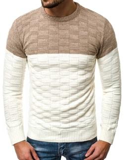 Skladem Ecru pánský svetr v zajímavém vzoru OZONEE ER 1006 ... 49ea56c8a4