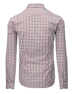 41137346b77 ... Zajímavá bílá módní košile s kostkovaným vzorem