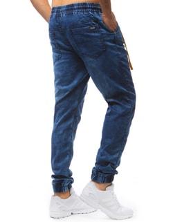 fdad25c98e2 ... Pánské nebesky modré jogger kalhoty se žlutým doplňkem