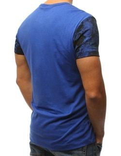 ... Vzorované modré tričko s potiskem 398a716edc