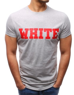 Sleva Skladem Zajímavé šedé tričko s potiskem WHITE ... 81d1d3b700