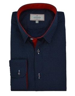 21517a4532d ... Granátová pánská košile s drobnými tečkami V267