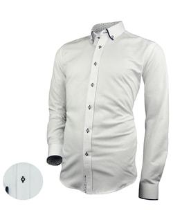 b24f89278f0 Skladem Bílá pánská košile se zajímavými kontrastními prvky ...