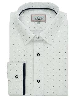 0ea31e5b194 Skladem Stylová pánská bílá košile s jemným vzorem Stylová pánská bílá  košile s jemným vzorem
