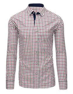Sleva Skladem Zajímavá bílá módní košile s kostkovaným vzorem ... 65efce833e