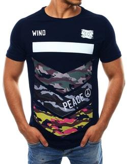 Sleva Skladem Tmavě modré pánské módní tričko WIND ... bc7f3d390b