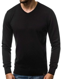 ... Pohodlný černý svetr v jednoduchém provedení OZONEE B 2390 c580d529b0
