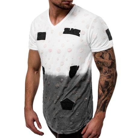 0a6d5c08eda6 Bílé tričko v ombré MJ 318Y - Budchlap.cz