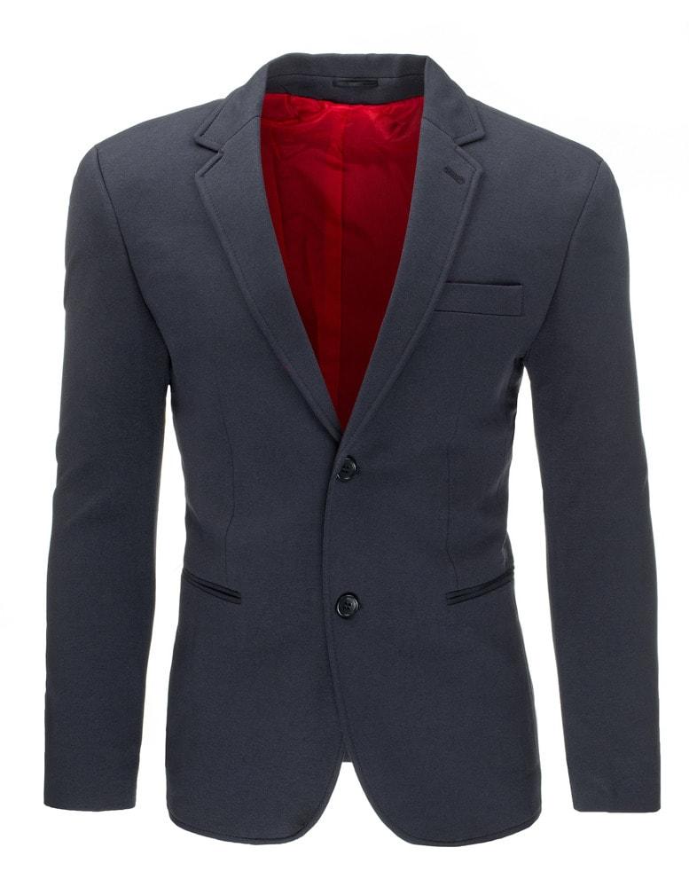 Sleva Skladem Elegantní pánské tmavě šedé sako ...