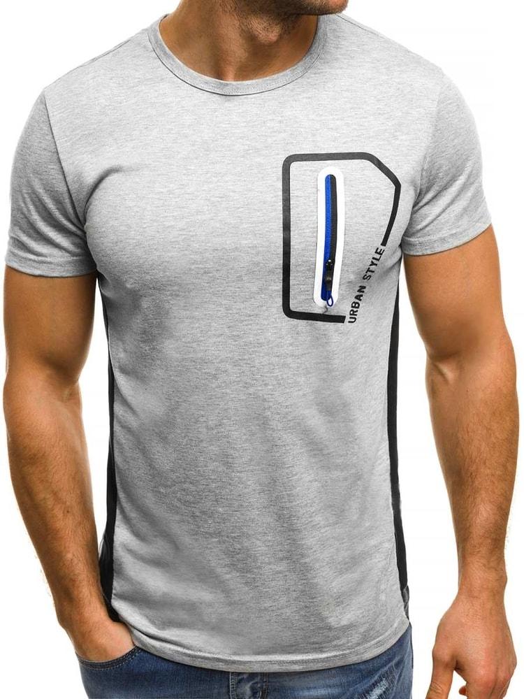 Šedé pánské tričko se zipem OZONEE JS SS325 - Budchlap.cz 70437b8fbb