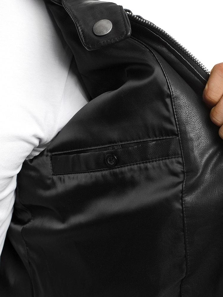 Černá moderní kožená bunda NATURE 5007 18 - Budchlap.cz 69aa445b422