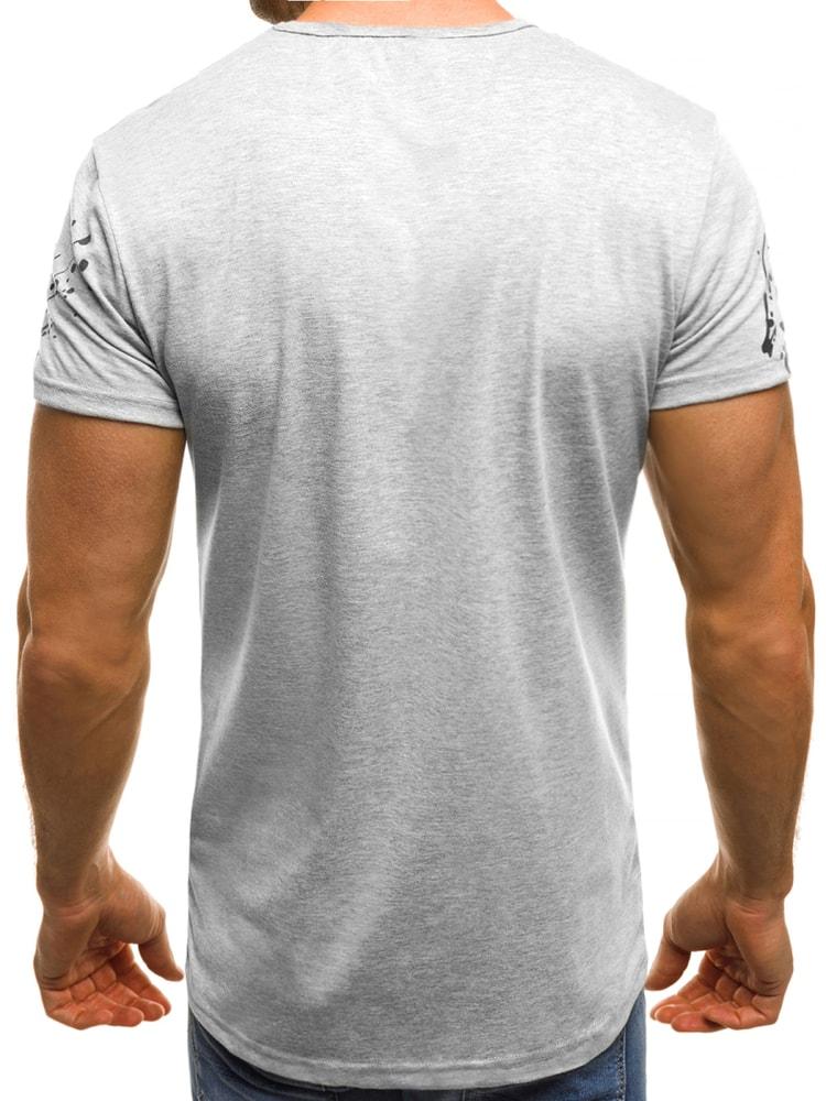 Šedé moderní pánské tričko OZONEE JS SS218 - Budchlap.cz f7e8b8c0fa