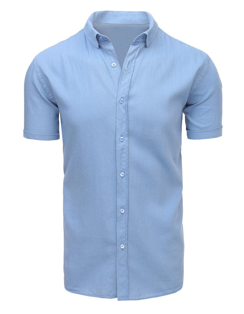 1a574836cf5 Nebesky modrá pánská košile s krátkým rukávem na léto - Budchlap.cz