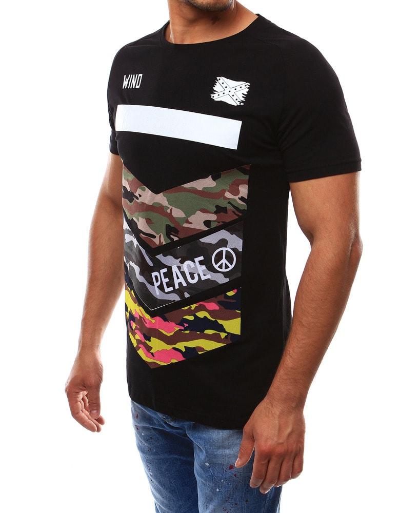 81c72029415 Sportovní pánské černé tričko PEACE - Budchlap.cz