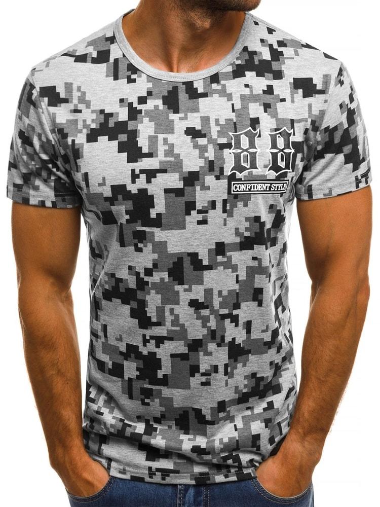 Pánské šedé tričko se zajímavým potiskem JS SS517 - Budchlap.cz 20daeb5ddb