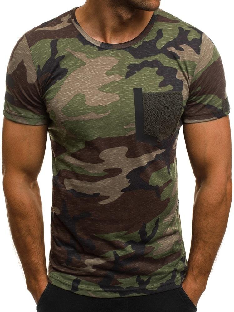 dc7f5d4cc162 Krásné zeleno maskáčové tričko s krátkým rukávem MECH 2083 - Budchlap.cz