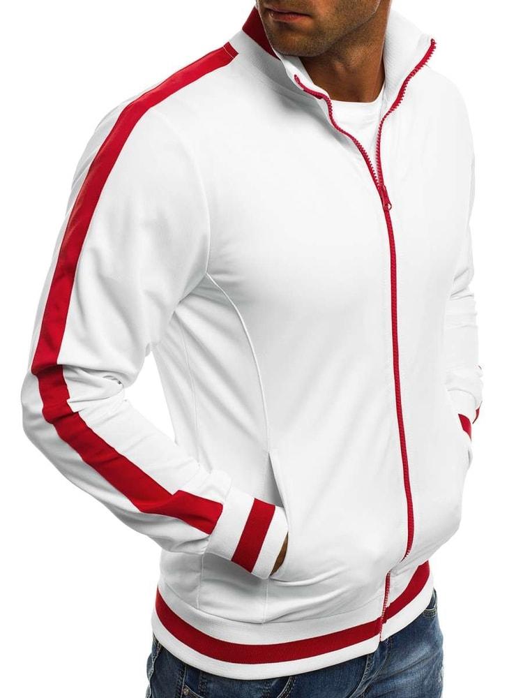 8388e226fa5 Bílá mikina s červenými doplňky O 2126 - Budchlap.cz