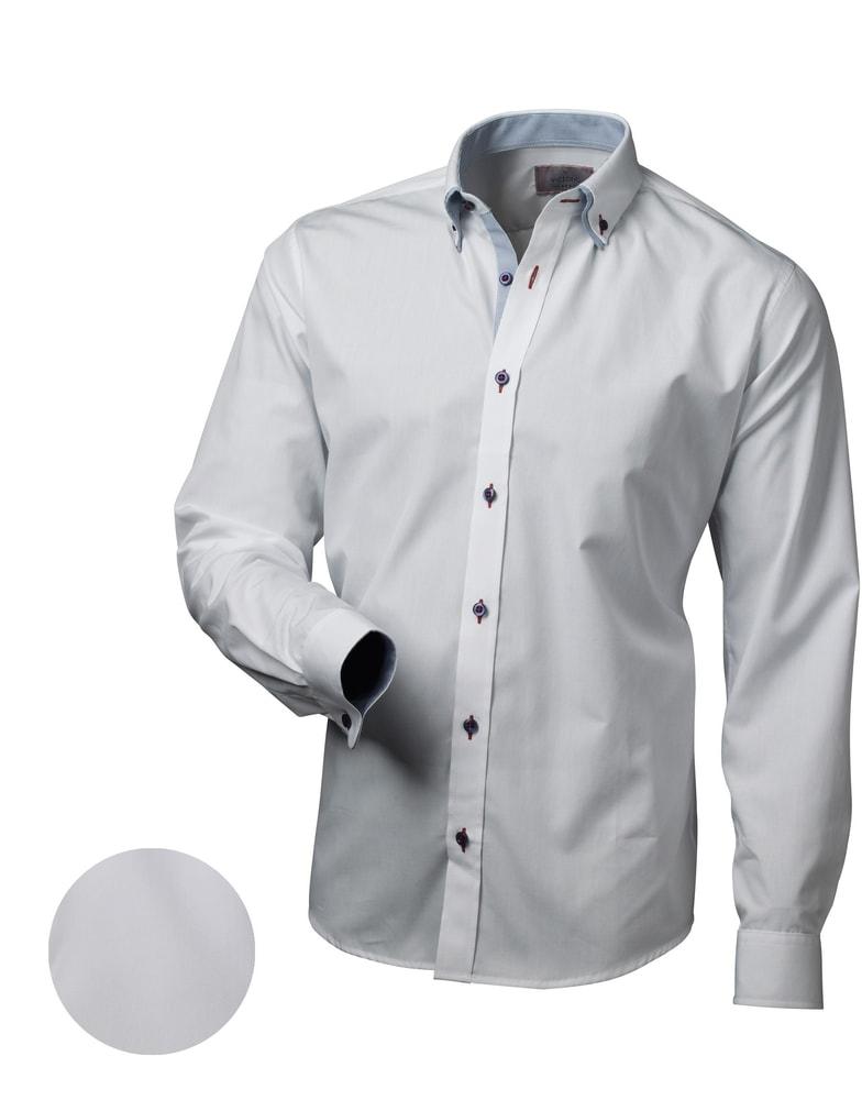 b677a3a0ca2 Elegantní bílá slim fit pánská košile V013 - Budchlap.cz