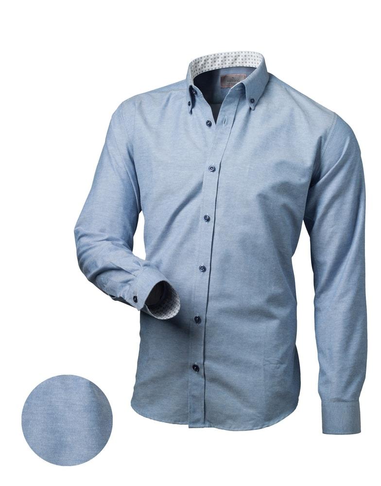 3a6f9f2745e Trendy modrá slim fit pánská košile - Budchlap.cz