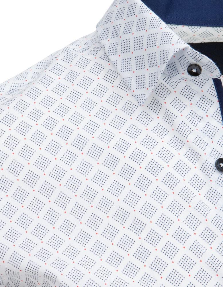 Bílá elegantní košile se vzorem - Budchlap.cz fbe01998f7