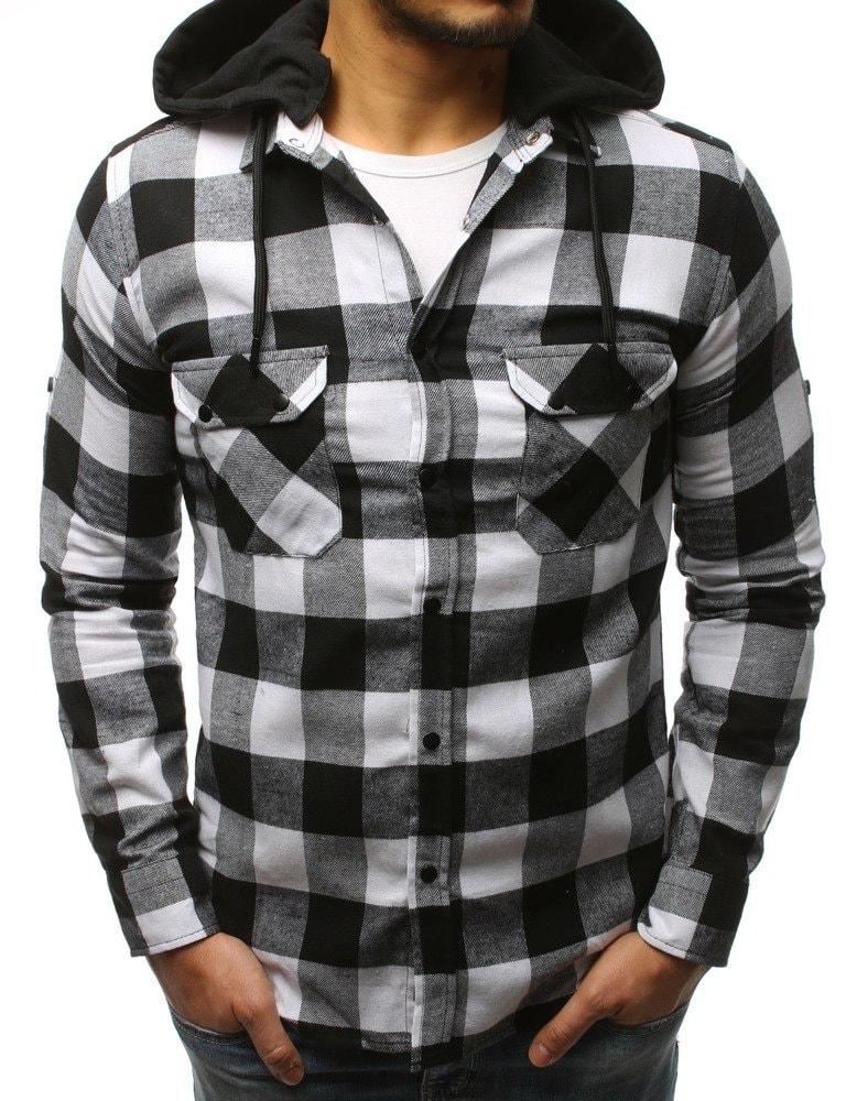 Bílo-černá kostkovaná košile s kapucí - Budchlap.cz 70e3327b1d