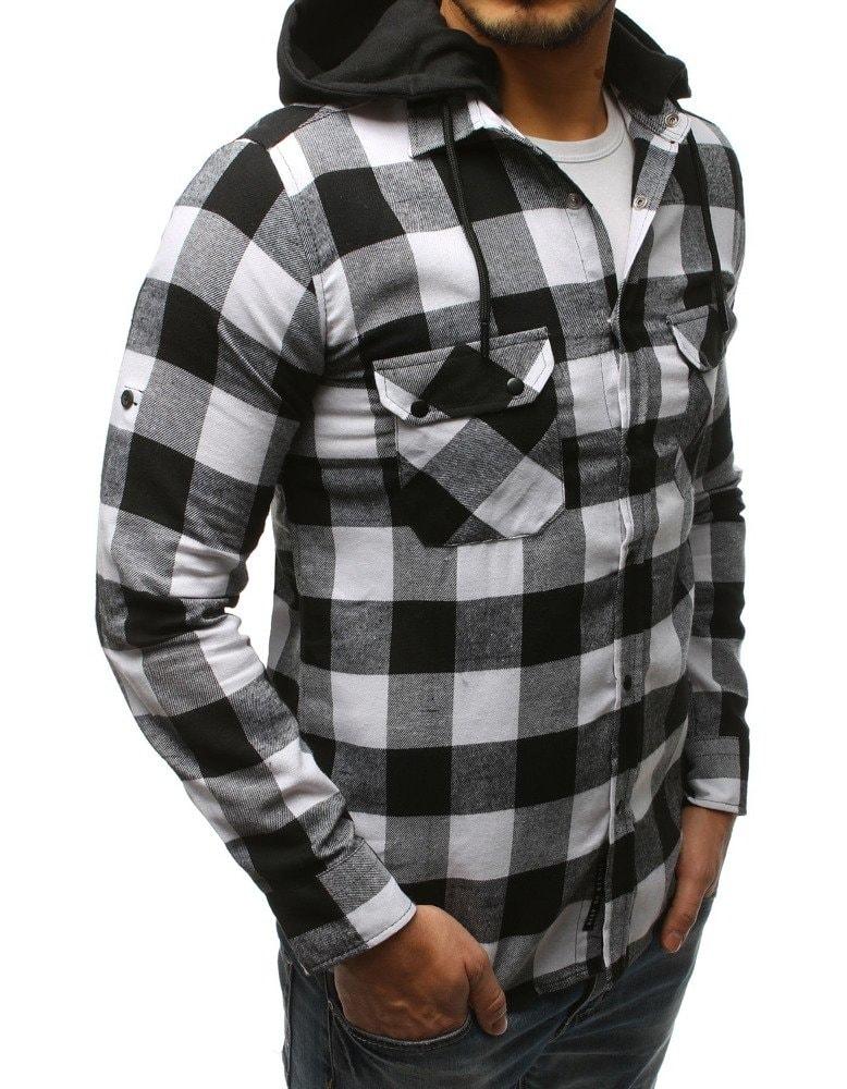 5161ff18c3b Bílo-černá kostkovaná košile s kapucí - Budchlap.cz