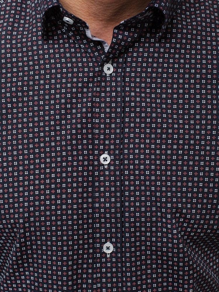 Vzorovaná pánská atraktivní košile tmavě modrá OZONEE V K79 ... 1d94719317