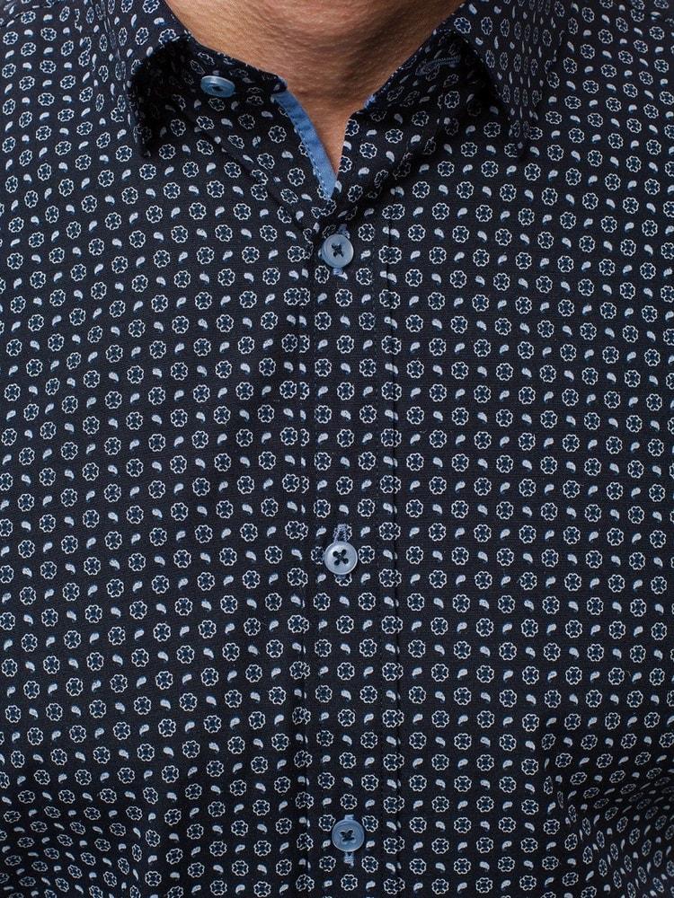 Bavlněná pánská košile tmavě modrá OZONEE V K72 - Budchlap.cz b901cc2269