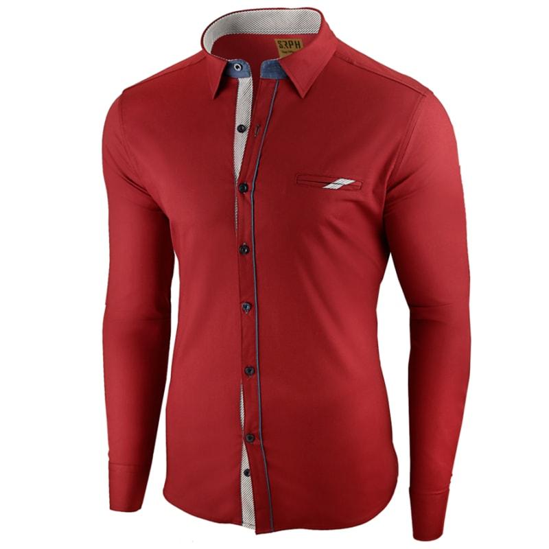 bf9a6b44421 Červená prémiová pánská košile s dlouhým rukávem - Budchlap.cz