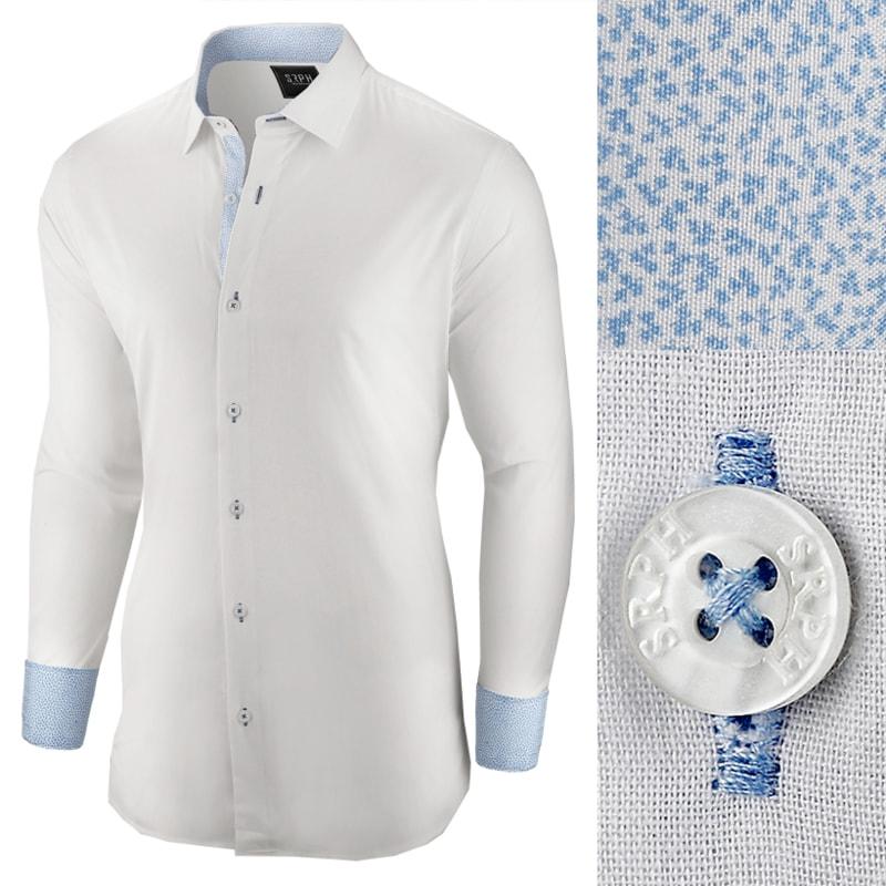 Elegantní bílá pánská košile se vzorem - Budchlap.cz 76126afadb
