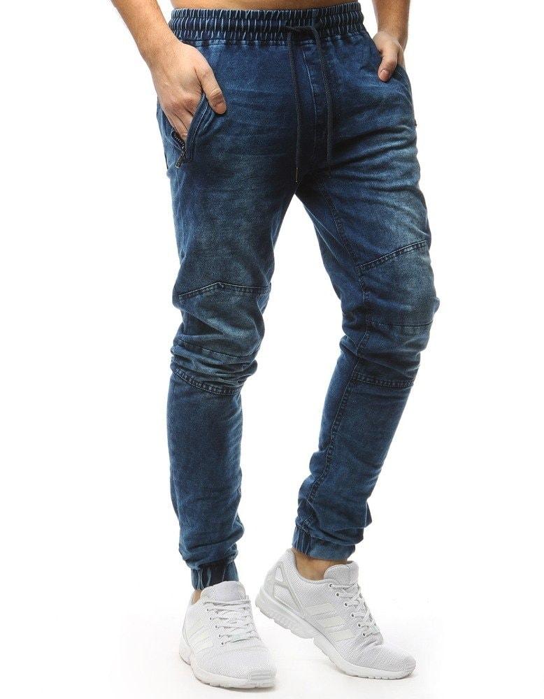 4e235baa26b Modré jogger kalhoty s tmavou šňůrkou - Budchlap.cz