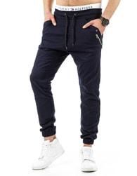 Tmavě modré fantastické kalhoty s nízkým sedem