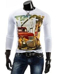 Bílé pánské tričko s dlouhým rukávem a potiskem