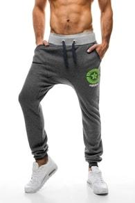 Pohodlné tmavě šedé kalhoty s nízkým sedem Stegol 810