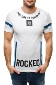 Bíle moderní tričko s nápisem ROCKED 3007