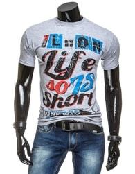 Šedé pánské tričko s potiskem