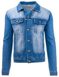 Džínová pánská moderní světle modrá bunda - L
