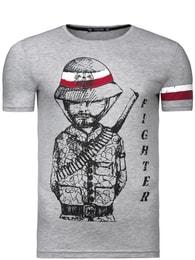 Šedé pánské tričko s potiskem ATHLETIC 500