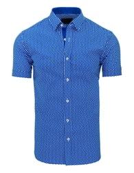 Atraktivní pánská modrá košile s puntíky - L