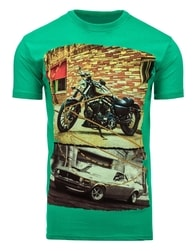 Kvalitní zelené tričko s krátkým rukávem a potiskem