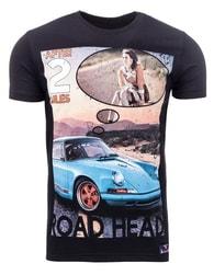 Černé pánské moderní tričko ROAD HEAD