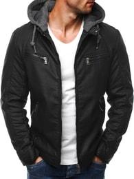 Zateplená kožená bunda v černé barvě J.STYLE 3152
