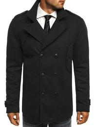 Černý kabát s dvouřadým zapínáním J.STYLE 3118