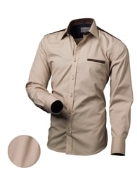 Hnědá slim fit košile pro pány V016