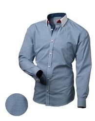 Victorio Kostkovaná košile modré barvy pro pány V031